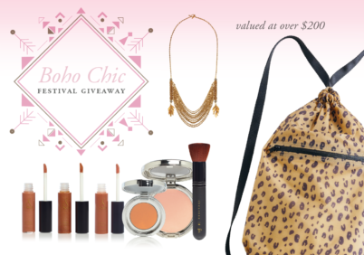 bohi chic festival giveaway from L'eclisse Cosmetics, BAGGU, and Purpose Jewelry