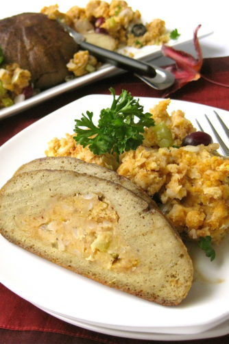 vegan turkey with stuffing
