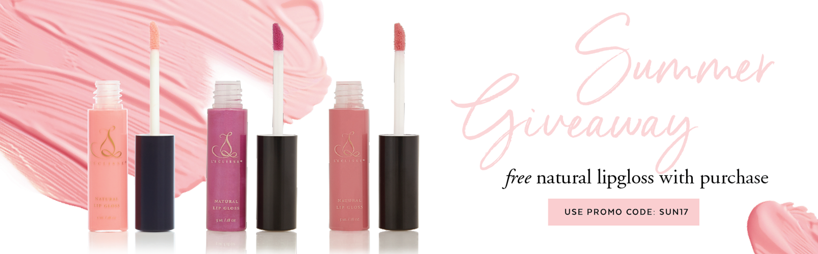 Summer Giveaway - free natural lipgloss with purchase.  Use promo code: SUN17